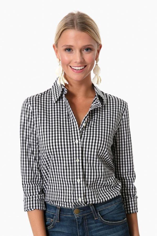 2f849693efcbb1 Black Wide Gingham Essential Button Down in Black by The Shirt by Rochelle  Behrens - Tnuck