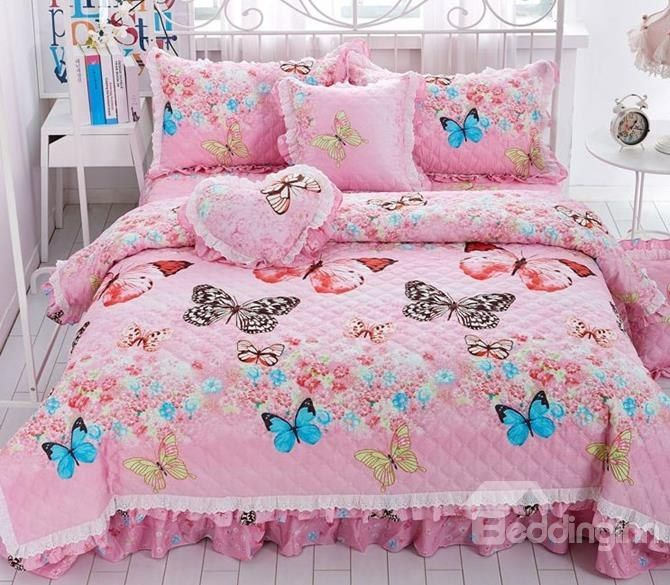 Full Dreamy Butterfly Print Quilting Seam Pink 4-Piece Cotton Bedding Sets/Duvet Cover