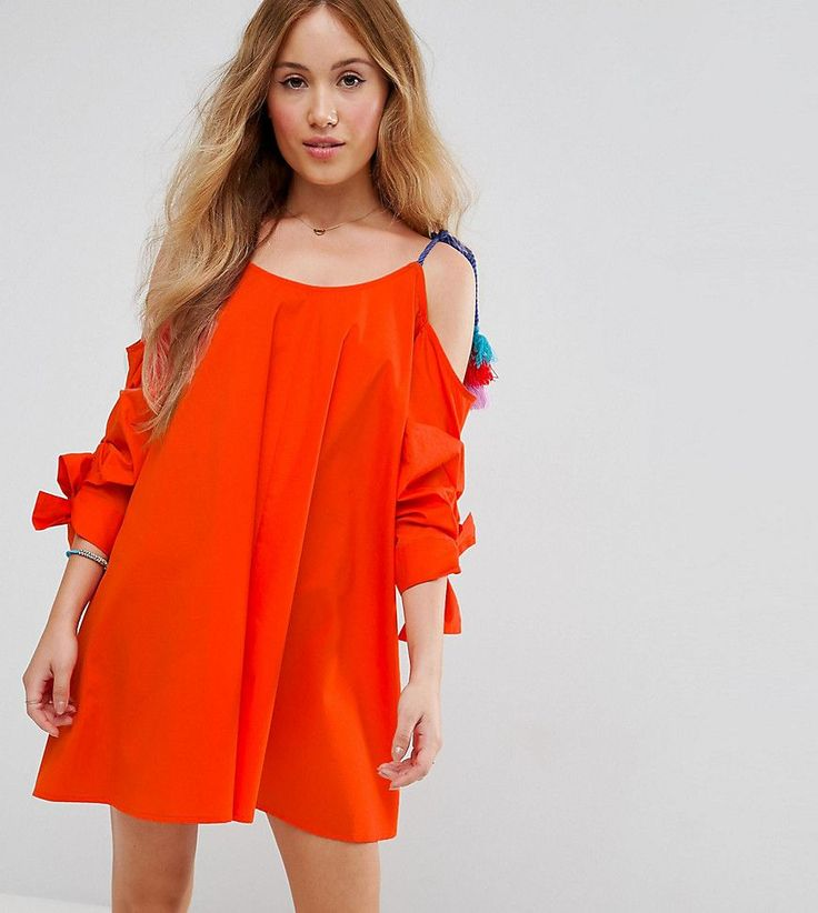 Get this Asos Petite's casual dress now! Click for more details. Worldwide shipping. ASOS PETITE Cold Shoulder Sundress with Pom Pom Detail Straps - Orange: Petite dress by ASOS PETITE, Pure cotton, Scoop neck, Cold-shoulder cut, Tie straps, Pom pom detail, Pinched sleeves, Relaxed fit, Machine wash, 100% Cotton, Our model wears a UK 8/EU 36/US 4 and is 163cm/5'4 tall, Mini dress length between: 85-87cm. 5�3�/1.60m and under? The London-based design team behind ASOS PETITE take all your f...