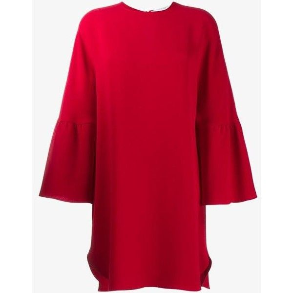 Valentino a-line dress (191525 RSD) ❤ liked on Polyvore featuring dresses, red, long dresses, red a line dress, short a line dresses, red silk dress and a line mini dress