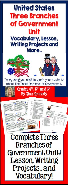 "United States, ""Three Branches of Government"" Writing and Research Enrichment Projects I have also included a lesson and vocabulary handout. From writing a specific letter to their senator to writing about a Supreme Court decision, the writing activities are fun, creative and provide an authentic way for your students to show their understanding of this important government concept.$"