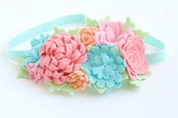 Felt Flower Garland Felt Flower Crown Headband In Summer by bloomz