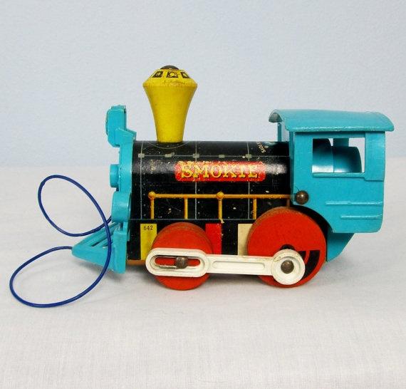 Vintage FISHER PRICE Toy Train Smokie by VintageToyBox on Etsy, $14.95
