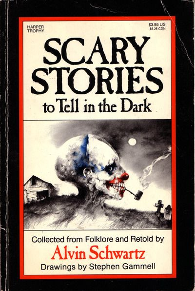 Scary Stories To Tell In The Dark.  Alvin Schwartz.  Red this about 20 years ago and it still gives me the creeps