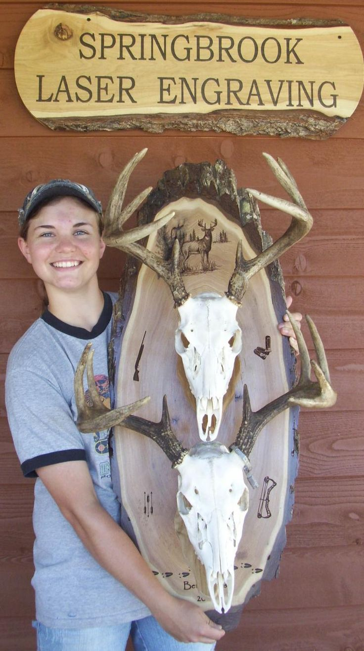 Deer skull mount ideas - Another Pinner Wrote Cool Double Skull Plaques By Springbrook Laser Engraving