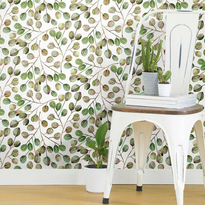 Roommates Cat Coquillette Eucalyptus Peel And Stick Wallpaper Green Peel And Stick Wallpaper Wallpaper Roll Tropical Wallpaper