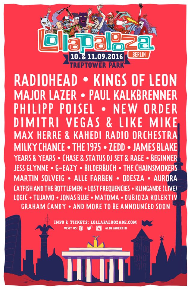 The Lollapalooza Berlin 2016 lineup is coming along nicely  Lollapalooza
