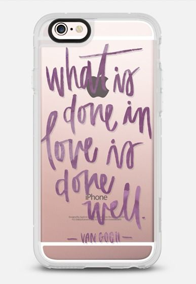 What is Done in Love is Done Well | Van Gogh | Watercolor | Purple Quote iPhone 6s case by Katie Clark | Casetify | This Delightful Design by Katie Clark | Phone Cases Hand lettering | Gift Ideas | Love | Wedding Verse