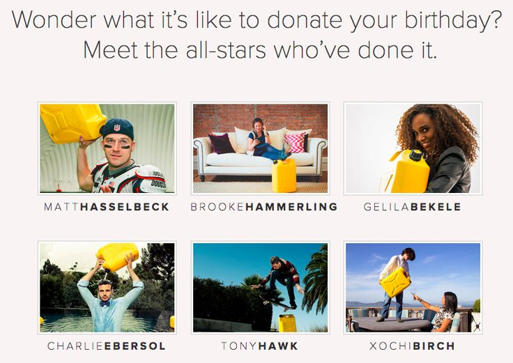 https://www.charitywater.org/birthdays/ - social proof