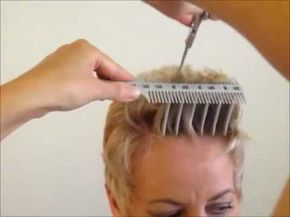 ▶ How to Cut Women's Short Hair Layer Haircut - CombPal Scissor Over Comb Hair-Cutting tool video 6 - YouTube