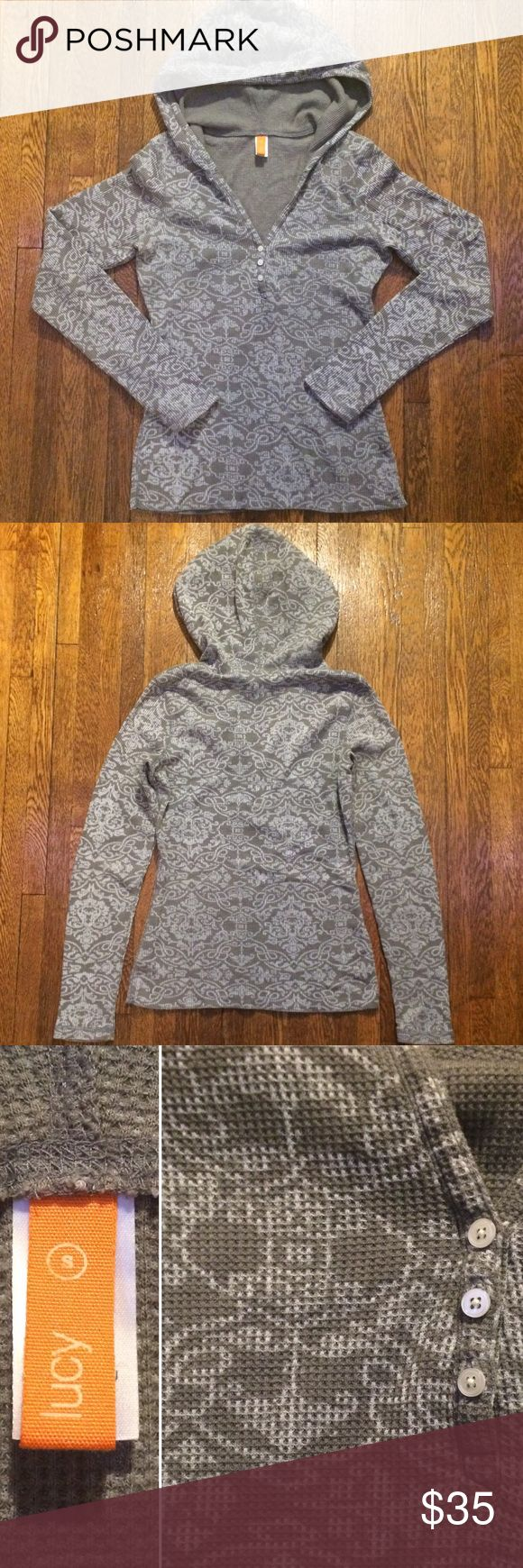 Lucy Thermal Hoodie Cute grey thermal from Lucy. It has a fun pattern throughout and a hood. In excellent used condition. Make me an offer. 25% discount on bundles of 2 or more. Lucy Tops Sweatshirts & Hoodies