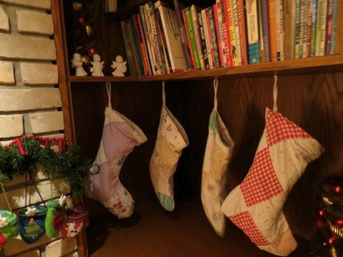 Christmas stockings made from a childhood quilt