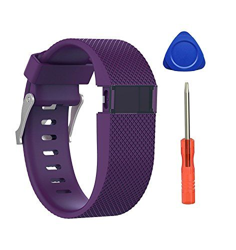 "From 10.99 Newest Fitbit Charge Hr Strap Benestellar Adjustable Silicone Replacement Small Large Band Bracelet Strap For Fitbit Charge Hr Wireless Activity Wristband (plum 1-pack Large (6.2""-7.6""))"