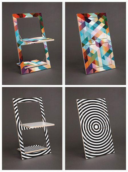 ¿Dónde puedo encontrar estas sillas plegables decoradas?