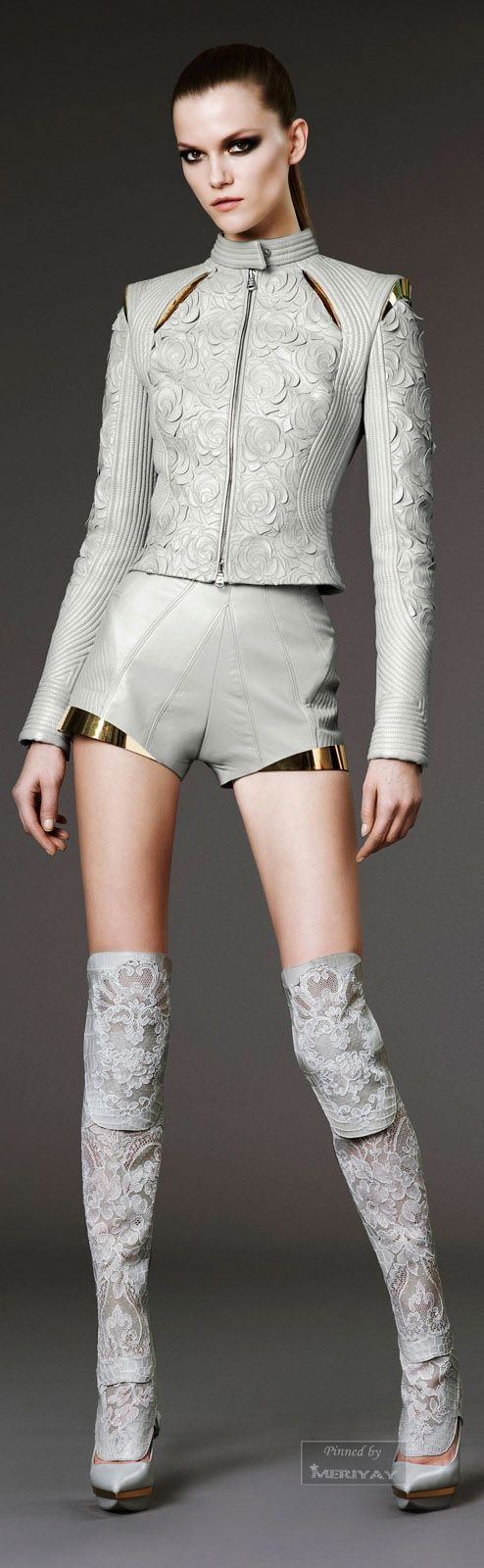 Atelier Versace...light grey leather with metallic gold details