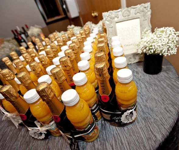 Mimosa kits for bridesmaids in the morning.  Would be cute to dress one up in a tux and the other a wedding dress.