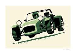 Felix Petrol Lotus Super 7 signed print