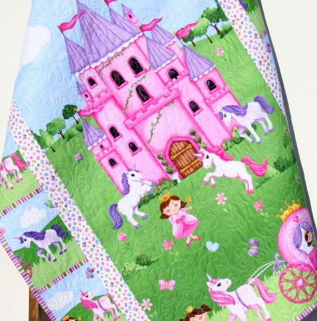 Princess Baby Girl Quilt Unicorns Castle Blanket Bedding