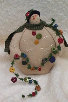 snowman with button garland