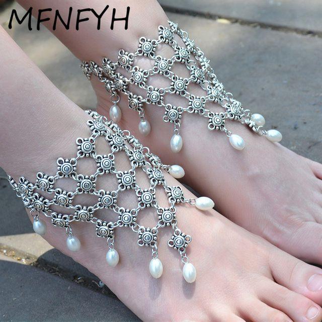 MFNFYH 1 ADET Boho Gelin Ayak Plaj Düğün Simüle İnci Barefoot Sandal Altın Gümüş Halhal Takı Kadınlar için Hint Halhal