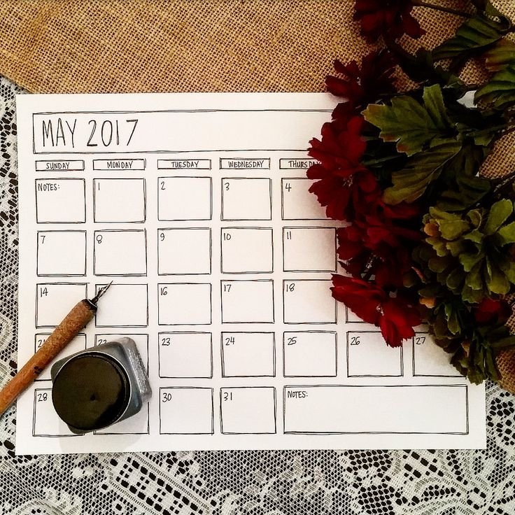 Printable May 2017 Calendar - Black & White Calendar - May 2017 - Minimalist May 2017 - Modern Calendar - May 17 Coloring Page - May Planner by TiaraDeeArt on Etsy