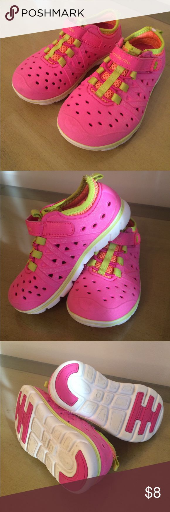 Kids Water Amphibian Shoes Stride Rite Kids Water Amphibian Shoes in pink and lime green . Gently used in good condition and have been washed Stride Rite Shoes Water Shoes