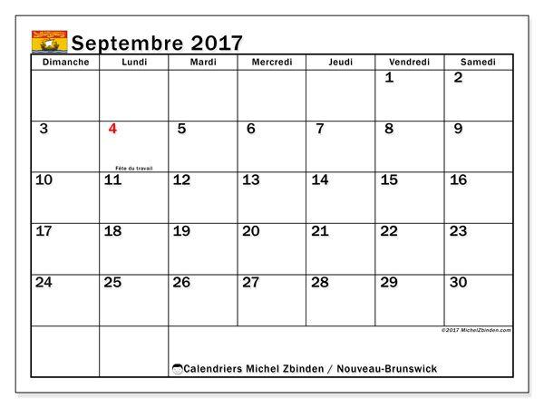 Calendrier à imprimer gratuit septembre 2017, avec les jours fériés du Nouveau-Brunswick