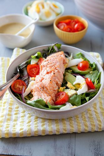 Salmon Salad with Honey Mustard Vinaigrette | Annie's Eats Try with spinach!