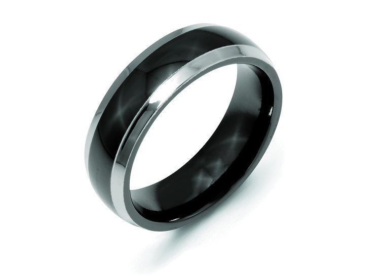 Chisel Titanium Black Ti Two-tone 7mm Polished Weeding Band