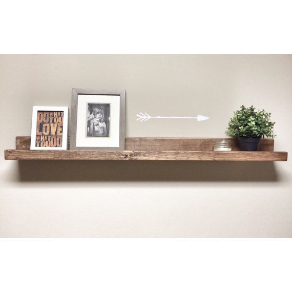 rustic wooden picture ledge shelf gallery by