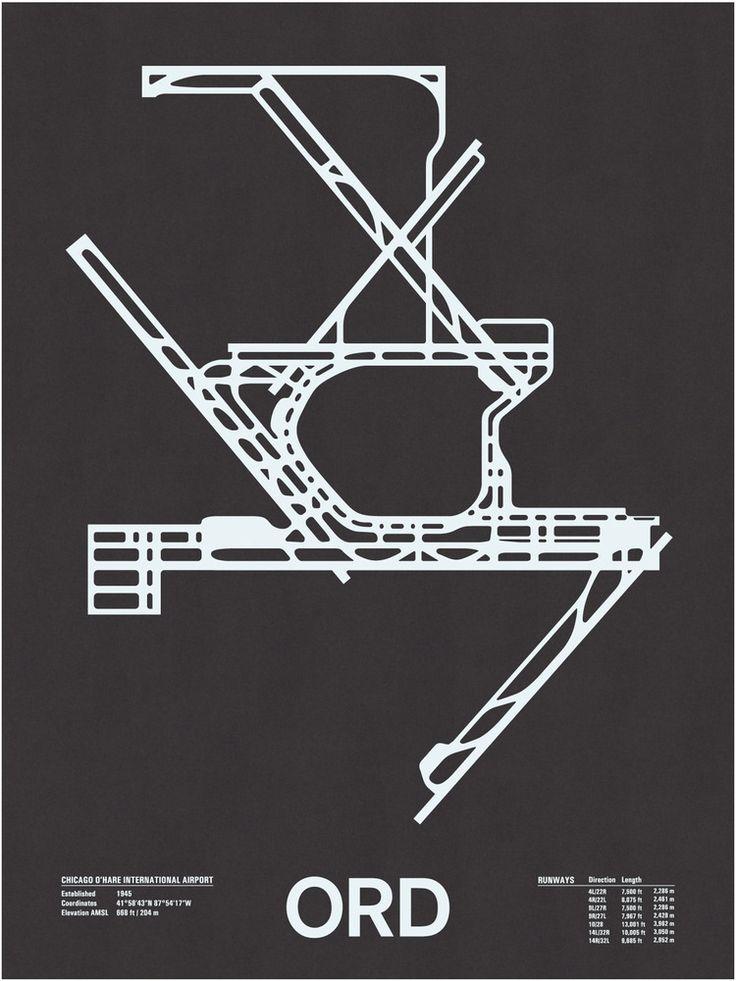 ORD-O'Hare by NOMO Design (http://shop.nomodesign.com/product/ord-chicago-o-hard-international-screenprint)