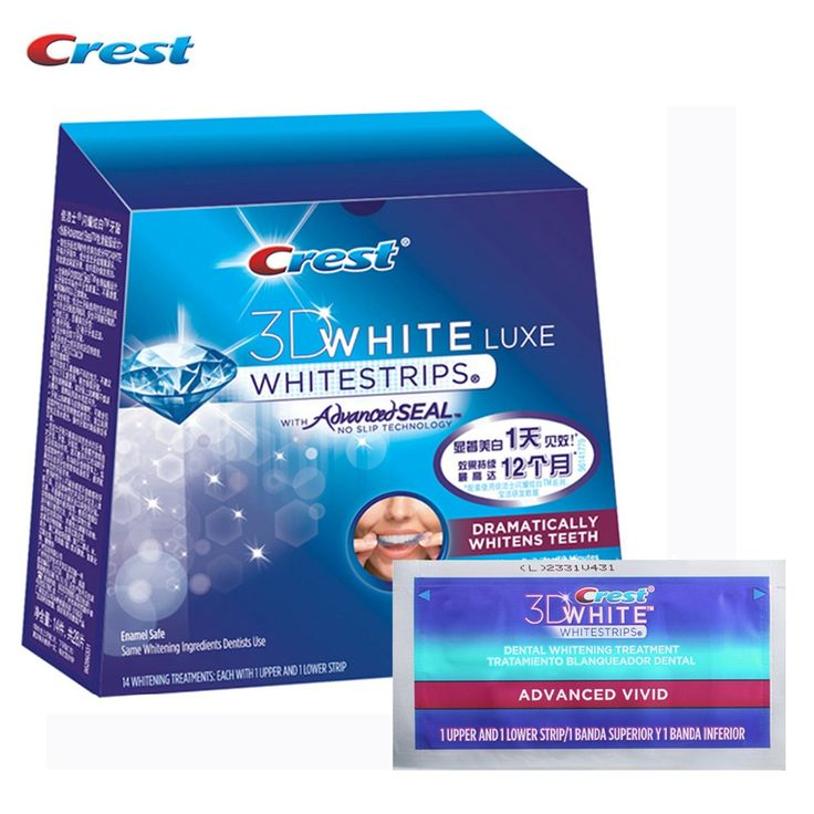 Crest  Advanced Vivid Whitestrips Teeth Whitening Oral Hygiene Dental White 14 Pouches/28 Strips for 14 Days Whitening Strips