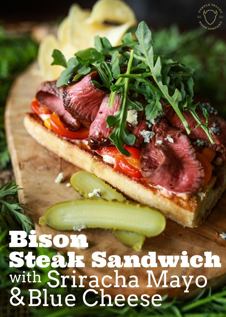 Bison Steak Sandwich Recipe  What is it about a steak sandwich that we just can't help but crave?   Is it the contrast between the crunchy bread and the tender steak? Or is it the simple fact that we just enjoy another way to savour one of our favorite choice cuts of protein?   Whatever your reason Chef Whittaker has done his own spin on what a steak sandwich should be like and in his eyes it's done with bison steak, Sriracha Mayo, and blue cheese.  We think it's easy to see things his way.