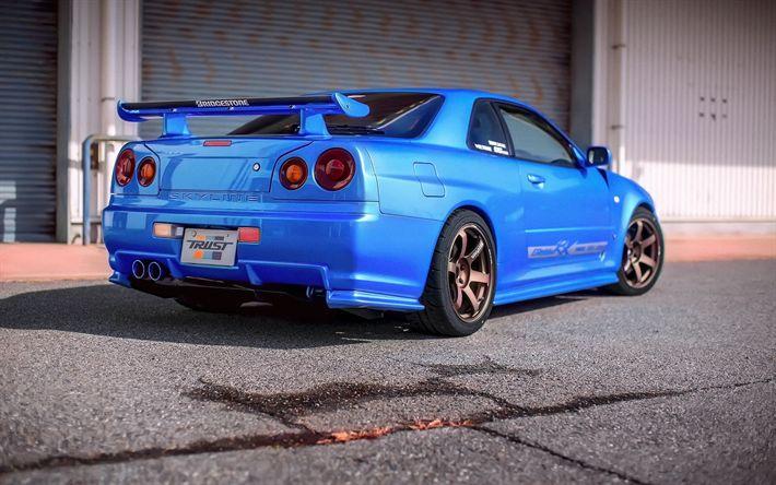 Hämta bilder Nissan GT-R, R34, sport coupe, tuning, blå GT-R, Japanska bilar, Nissan Skyline