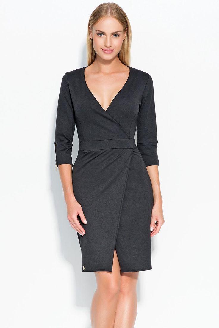 Sukienka Makadamia M315 - czarny Stylowa sukienka damska: ...  https://www.mega-ciuchy.pl/sukienka_makadamia_m315_czarny