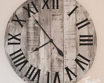 30 Farmhouse Style Clock Customizable Clock Whitewash Wall Clock Reclaimed Wood Large Clock Rustic Wal Farmhouse Style Clock Rustic Wall Clocks Wall Clock