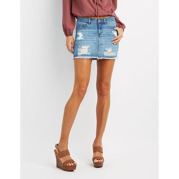 Refuge Destroyed Denim Mini Skirt ($27) ❤ liked on Polyvore featuring skirts, mini skirts, medium wash denim, ripped denim skirt, distressed denim mini skirt, zipper skirt, denim skirt and distressed skirt