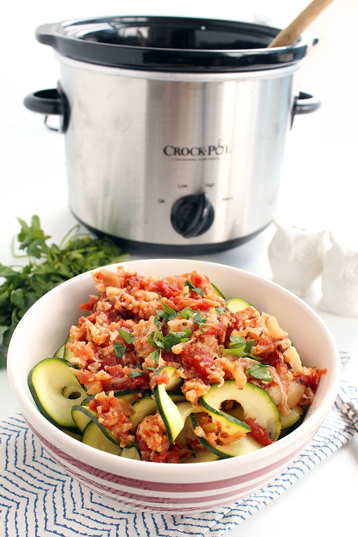 Vegetarian Cauliflower Bolognese With Zucchini Noodles 27 Delicious Low Carb Dinners To Make In A Slow Cooker