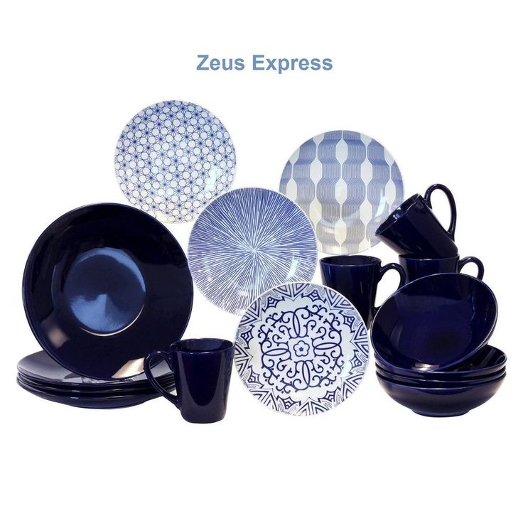 Modern Dinnerware Set 16-32 Pc Blue White Stoneware For 4-8 Plates Bowls Mugs  #BaumBros