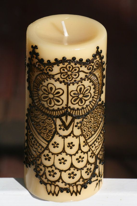 I'm loving this! Henna Candle with a cute Henna Owl and Stars by RedwoodHenna, $25.00