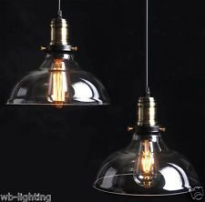 Country Vintage Retro Glass Ceiling Lamp Shade Pendant Light Chandelier LED Bulb