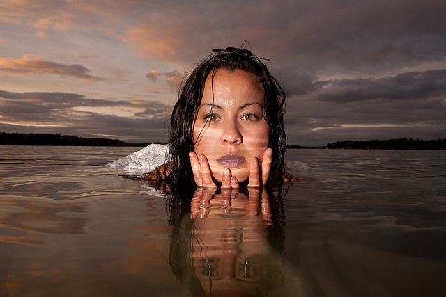 Sub-Arctic Butterflies: Drift Away -   Photoshoot in 12-degree water with the incredibly brave model, Tiffany Ayalik by Dave Brosha