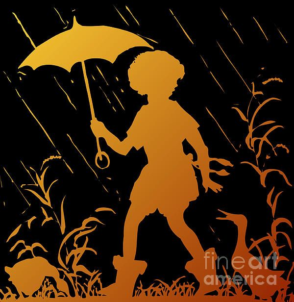 FOR SALE! SILHOUETTE ARTWORK!  ....  Golden Silhouette of Child and Geese Walking in the Rain  .....  #sale #artwork #cards #prints #fineartamerica #iphonecases #silhouettes #fonts #antiques #oldfashioned #children #geese #animals #umbrellas