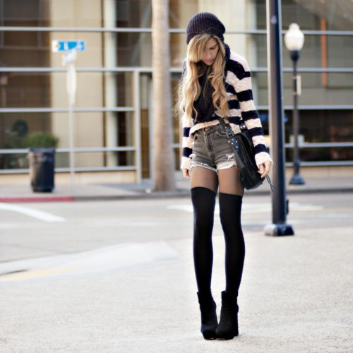 Thigh high socks with shorts & booties. If I Was younger and skinner I would totally rock this!