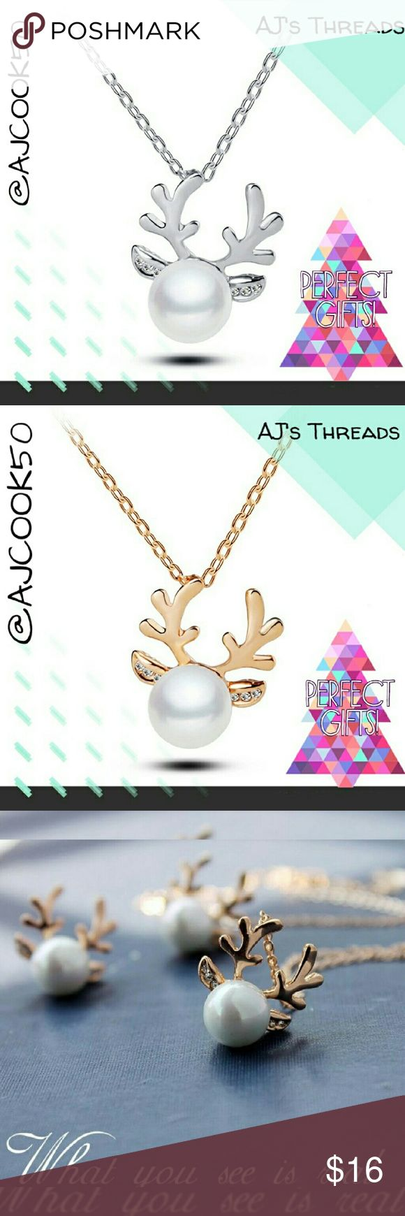 Reindeer Antler Pearl Necklace This holiday festive drop necklace features a pearl inset and rhinestone jewels. Perfect for holiday parties,  white elephant gifts and stocking stuffers. Only gold available Jewelry Necklaces