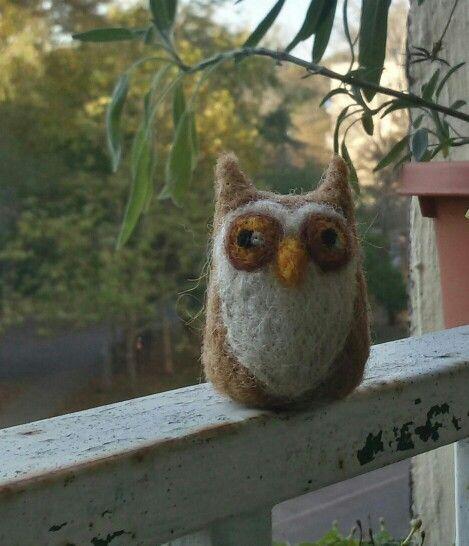 Needle felt owl