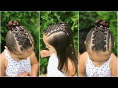 peinado para niña con ligas cruzadas y trenza pegada  peinado para niña fácil y rápido de hacer - YouTube
