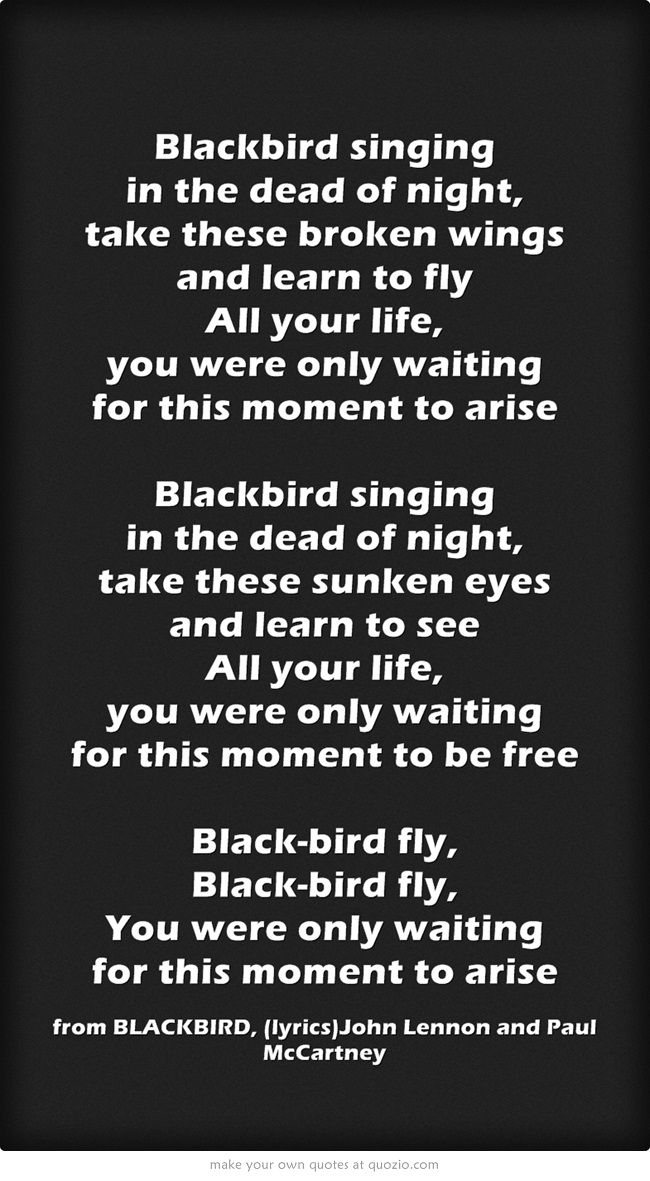 BLACKBIRD  ---  JOHN  LENNON & PAUL  McCARTNEY