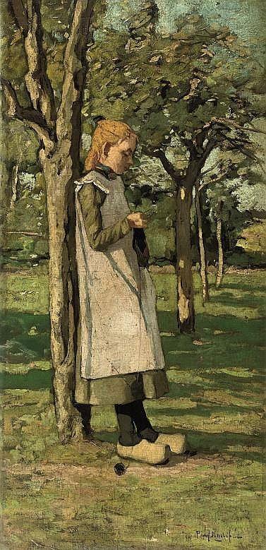 "Paul Bodifee (1866 - 1938) ""Knitting in the garden"