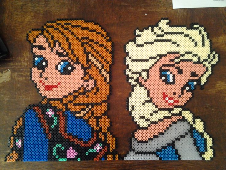 Anna and Elsa - Frozen hama perler beads by Marie Kli